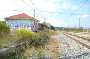 Antiguo apeadero de Zizur, en el barrio de Etxabakoitz de Pamplona-Iruñea. Descatalogado, no se puede utilizar.